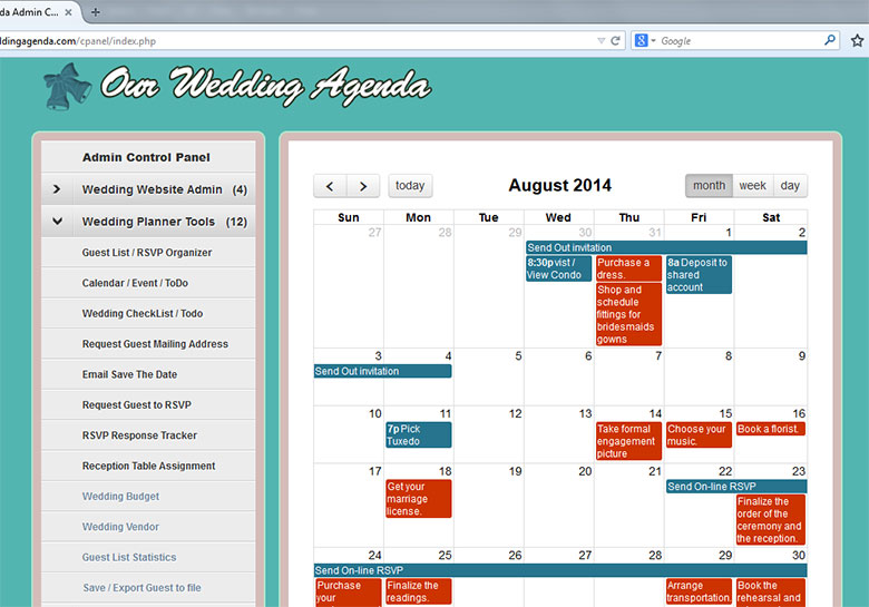 Our Wedding Agenda Wedding Website